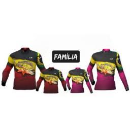 Título do anúncio: Kit igual 3 camisetas de Pesca Família para comprar leia a descrição do anúncio.