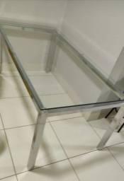 Mesa inox tampo vidro