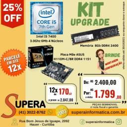 Título do anúncio: kit upgrade proc. intel i5 7400 3.0ghz mb asus h110m-c br  memória 8gb ddr4 2400-Seminovo