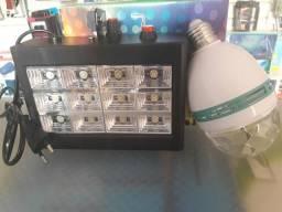 Kit strobo com 12 leds e lampada giratória