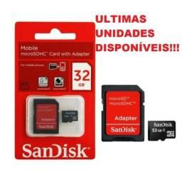 É memória Que Voce Quer??? Cartão Memoria Micro Sd Sandisk 32 Gb Sdhc Preto C/ Adaptador