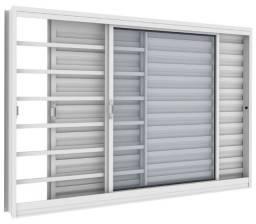 Janela Veneziana 150x100 Branca com vidro Direto da Fabrica
