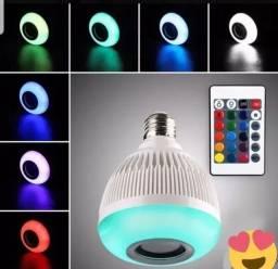 Lampada Musical Caixa Som Bluetooth Led Rgb Com Controle