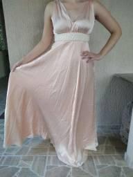 Vestido de festa longo rosa champanhe