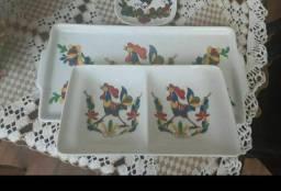 2 Peças Porcelana Galo colorido