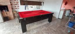 Mesa De Bilhar Gaveta Preta Bl Tecido Vermelho Modelo QOQ0022