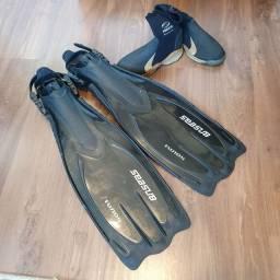 Kit nadadeira(pé de pato) +bota da Seasub
