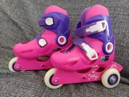 Patins infantil oxelo 3play rosa número 24 - 26