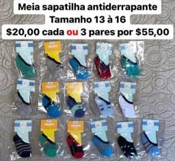 Meia sapatilha antiderrapante infantil, tamanho 13 ao 33