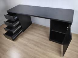 Título do anúncio: Mesa Black Oak 180x56 em MDF Preto - HyperBuy - Produto Novo