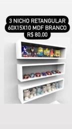 Título do anúncio:  Móveis Decorativos - Nicho Retangular em Mdf -  Kit com 3 Unidades