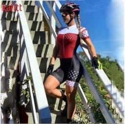 Título do anúncio: Macacão Macaquinho Feminino Manga Curta Ciclismo Gel Protetor