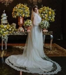 Vestido e véu de Noiva - A Modista em Chiffon de Seda (Off White)
