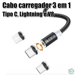Título do anúncio: Cabo Magnético 3 em 1 - 1M - Tipo C, Lightning e Micro usb
