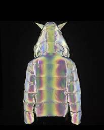 Título do anúncio: Blusa De Frio Puffer Refletiva  Arco Iris Brilhante Rave
