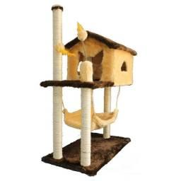 Título do anúncio: Arranhador Gatos Casinha com rede 2 Brinquedos