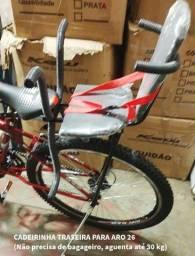 Cadeirinha de bicicleta trasita ATÉ 30kg para aro 26 *não precisa de bagageiro*