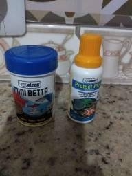 Ração para peixe e desclorificante