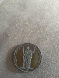 Moeda antiga 5 liras italianas. ano 1848