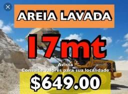 Areia lavada carrada com 17mt pelo preço de 12mts