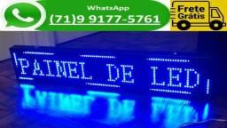 Letreiro Digital Painel Led Azul Luminoso 1,30 x 0,20 m Usb 130 x 20 m (NOVO)