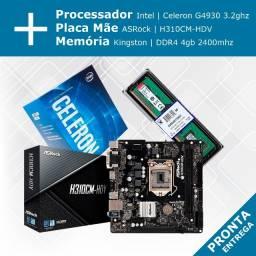Kit - Processador Celeron+ Placa Mãe ASRock H310CM + Memória Kingston DDR4 4gb