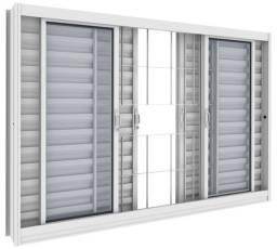 Janela Veneziana aco branco com vidro e Aluminio Direto da Fabrica