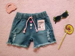 Short feminino infantil de 2 a 8 anos