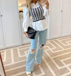 Cropped tricot pied poule perfeito para usar sobre camisa