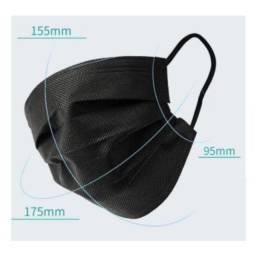Título do anúncio: Máscaras Descartáveis Com Tripla Proteção Facial Hospitalar Clipe Nasal Cor Preta 50UN