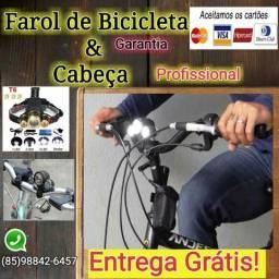 Farol de bicicleta & lanterna de cabeça+ 2+Bateria recarregável + Garantia+Entrega Grátis.