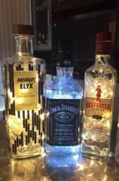 Natal, lindas garrafas decorativas com LED brancas e amarelas, lindas