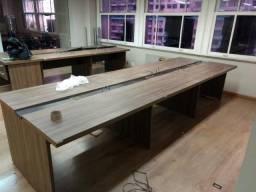 Bancada com 6 mesas de escritório - Medidas: 1,20X0,65X0,74 cm (por mesa)