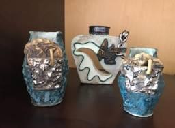 Trio de objetos decorativos