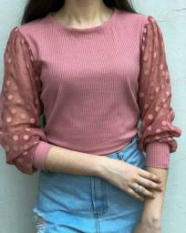 Blusa Rose com manga bufante