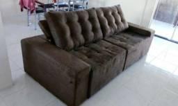 Sofá retrátil e reclinável revestido com espuma D28 - pronta entrega