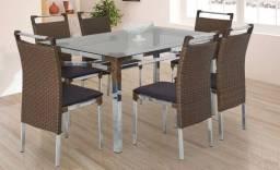 Título do anúncio: Mesa Com 6 Cadeiras em Aluminio e Fibra Sintética