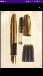 caneta tinteiro folheada a ouro 24k
