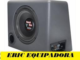 "Título do anúncio: caixa amplificada Smart Box -  Sub de 8""  100w Rms + cabos - Instalada"