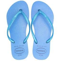 Chinelo Havaianas Slim Gloss Azul Original Feminino Sandália