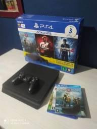 Título do anúncio: Playstation 4 - Preto Onyx - 1 Tb + 3 Jogos