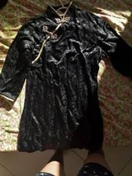 Vestido Oriental Preto Semi Novo