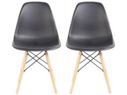 Jogo de Cadeiras Pé Palito Assento Preto Nell - EAM-PR1<br><br>