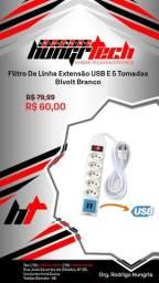 Filtro De Linha Extensão USB E 5 Tomadas Bivolt Branco