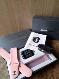 Título do anúncio: Relógio smartwatch P80 rosa com lilás