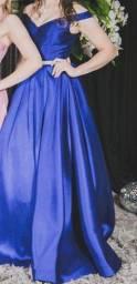Título do anúncio: Vestido longo formal azul - praticamente novo, usado uma vez