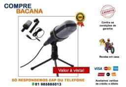 Título do anúncio: Microfone Condensador Omnidirecional Preto com Tripé