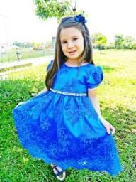 Vestido Infantil festa azul