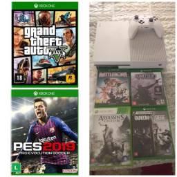 Xbox one S HD 1 tera 1 controle, 6 jogos 4 mídia 2 digital GTA 5 e Pes19