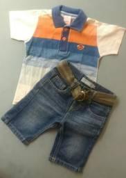 Conjunto MARISOL (Bermuda c/ cinto+Camisa) Tam. 3P (20 a 24 meses) veste até mais!